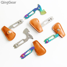 6PCS QingGear Plus Hawkit Neck Knife Axe Nail Puller Mini Prybar Screwdriver Bottle Opener With Leather Sheath