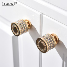2018 New 24K Real Gold Czech Crystal Brass Round Cabinet Door Knobs and Handles Furnitures Cupboard Wardrobe Drawer Pull Handles