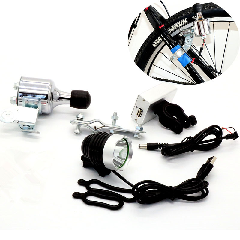 3-Model  Lights Aluminum Bicycle Lights Friction Generator Permanent Magnet Brushless Rechargeable Lighting Head Tail Rear Light