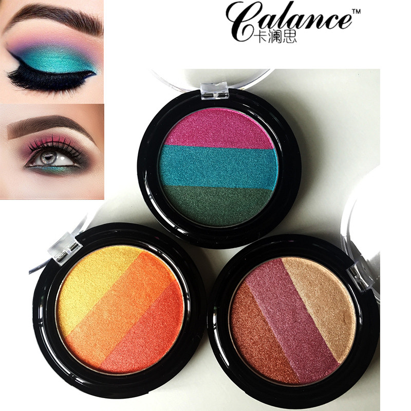 Calance 3 color rainbow eyeshadow palette Green