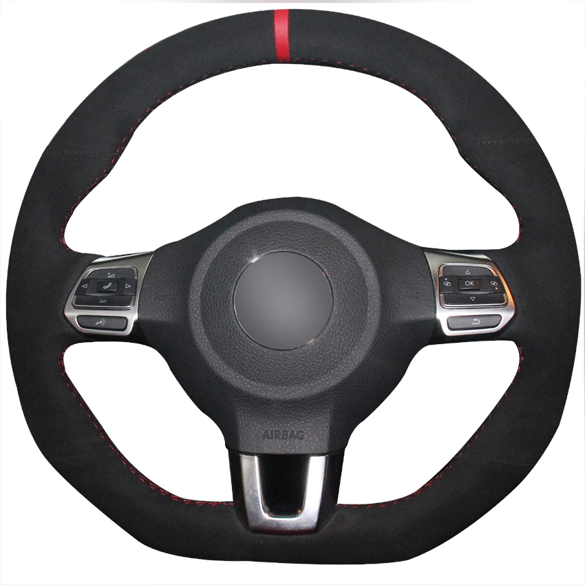 Xuji Black Suede Red Marker Car Steering Wheel Cover For