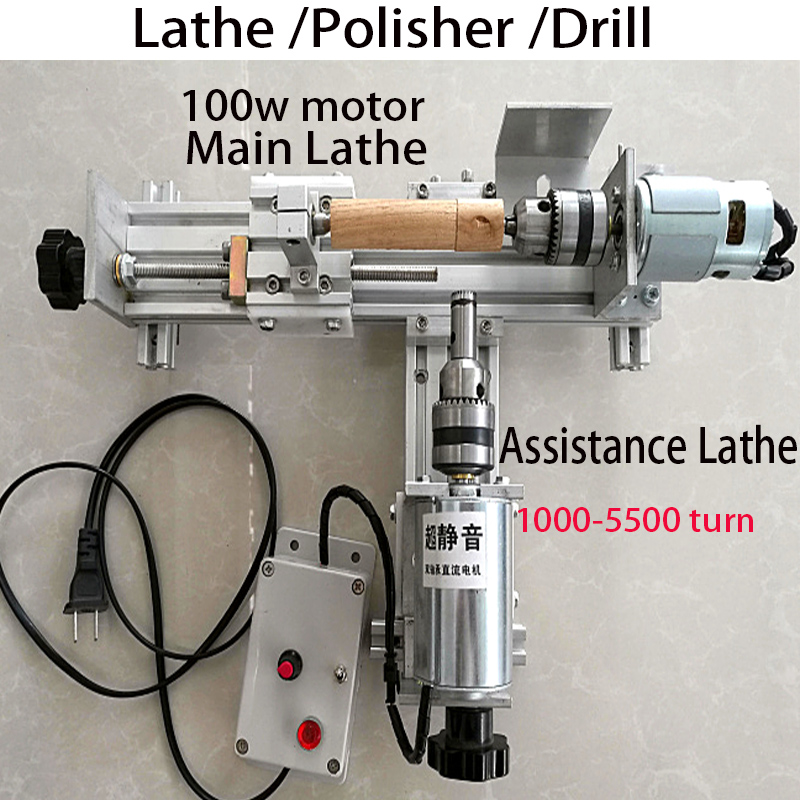 2 set Mini Lathe Machine Polisher Table Saw for polishing Cutting DIY Wood Lathe,metal mini lathe/didactical DIY lathe ship DHL цены