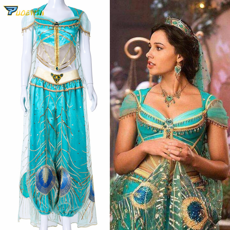 2019 New Movie Aladdin Jasmine Princess Cosplay Costume For Adult Women Girls Halloween Party Costume Custom Made