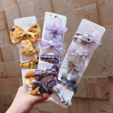 5Pcs/Set Kids Baby Infant Lovely  Hair Clips Children Girl Bows Crown Hairpin Cartoon Animal Accessories