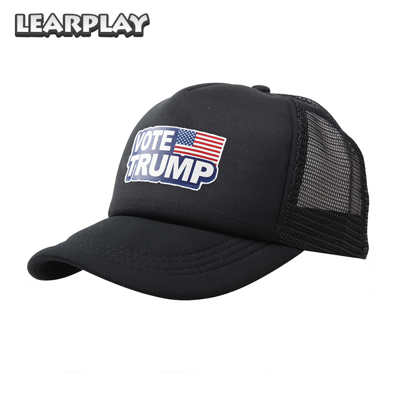 Donald Trump Baseball Caps Vote Trump Logo American Flag Mesh Hat Solid Adjustable Snapback Men Women Trucker Hat Christmas Gift