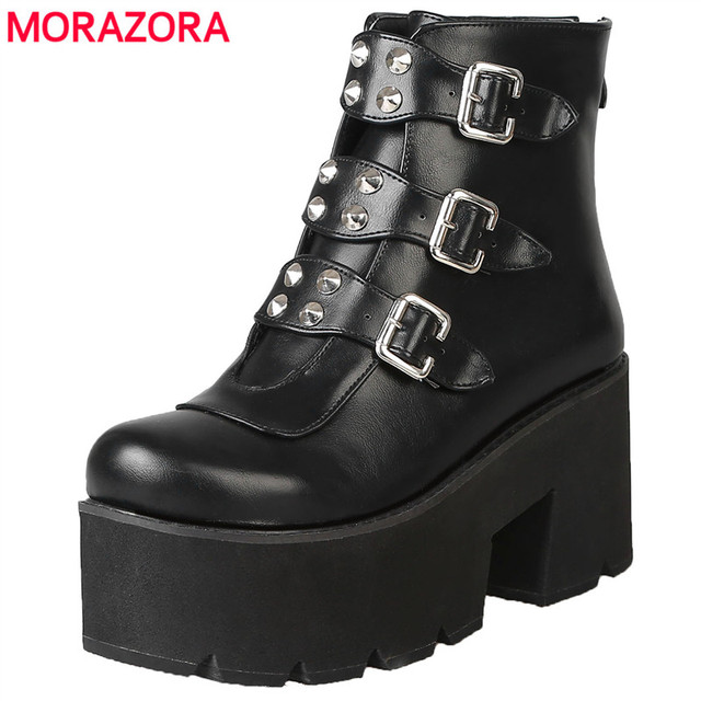 59f8c4b22c3 MORAZORA Plus tamaño 34-46 nuevos de moda botas de plataforma de fondo  grueso zapatos