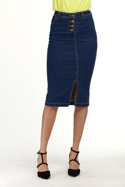 dc7fa4c19a YYFS High Waist Pencil Denim Skirts Plus Size Tight Bodycon Fashion Women  Midi Skirt Slit Women's Skirt Fashion Jupe Femme S 5XL