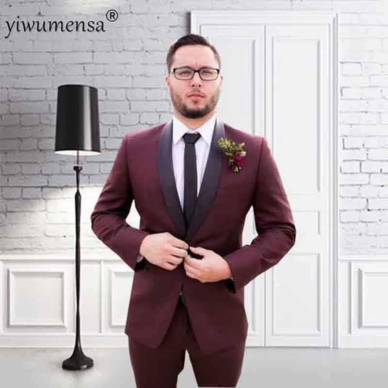 Ywms-17 Роскошные итальянские красное вино Для мужчин S пиджак Брюки для девочек торжественное платье мужской костюм комплект Для мужчин костюм для свадьбы для Для мужчин смокинг жениха 2018