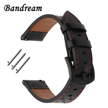 20mm Italian Genuine Leather Watchband for Garmin Vivoactive3 Ticwatch 2 / E Samsung Gear Sport Quick Release Strap Watch Band