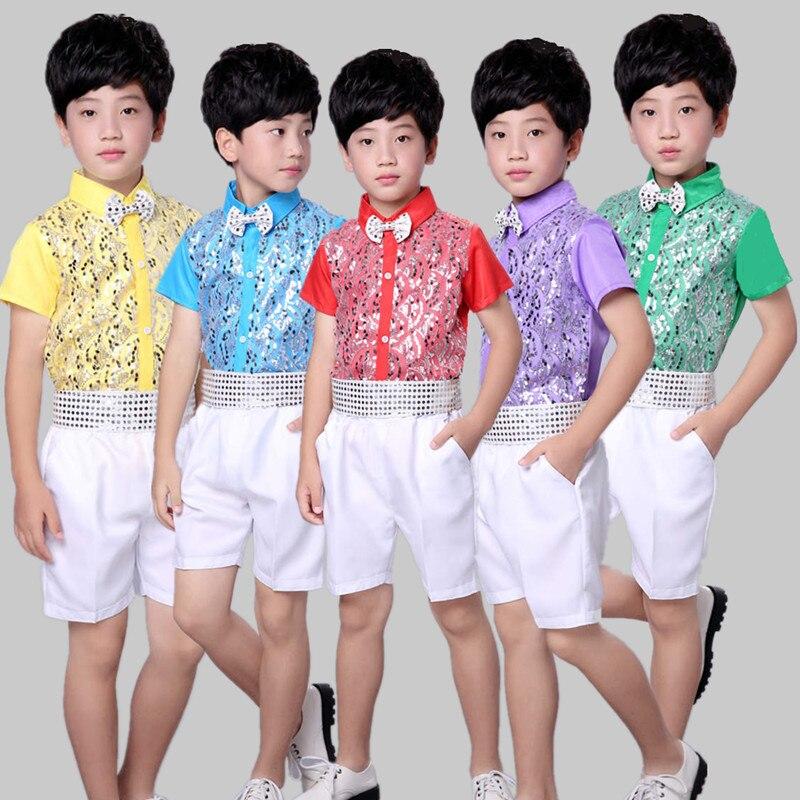 Children's Costume Children's Choir Clothing Boy's Wear Short Sleeve Sequin Tops And Pants 2 Pcs / Set Latin Dance Clothes