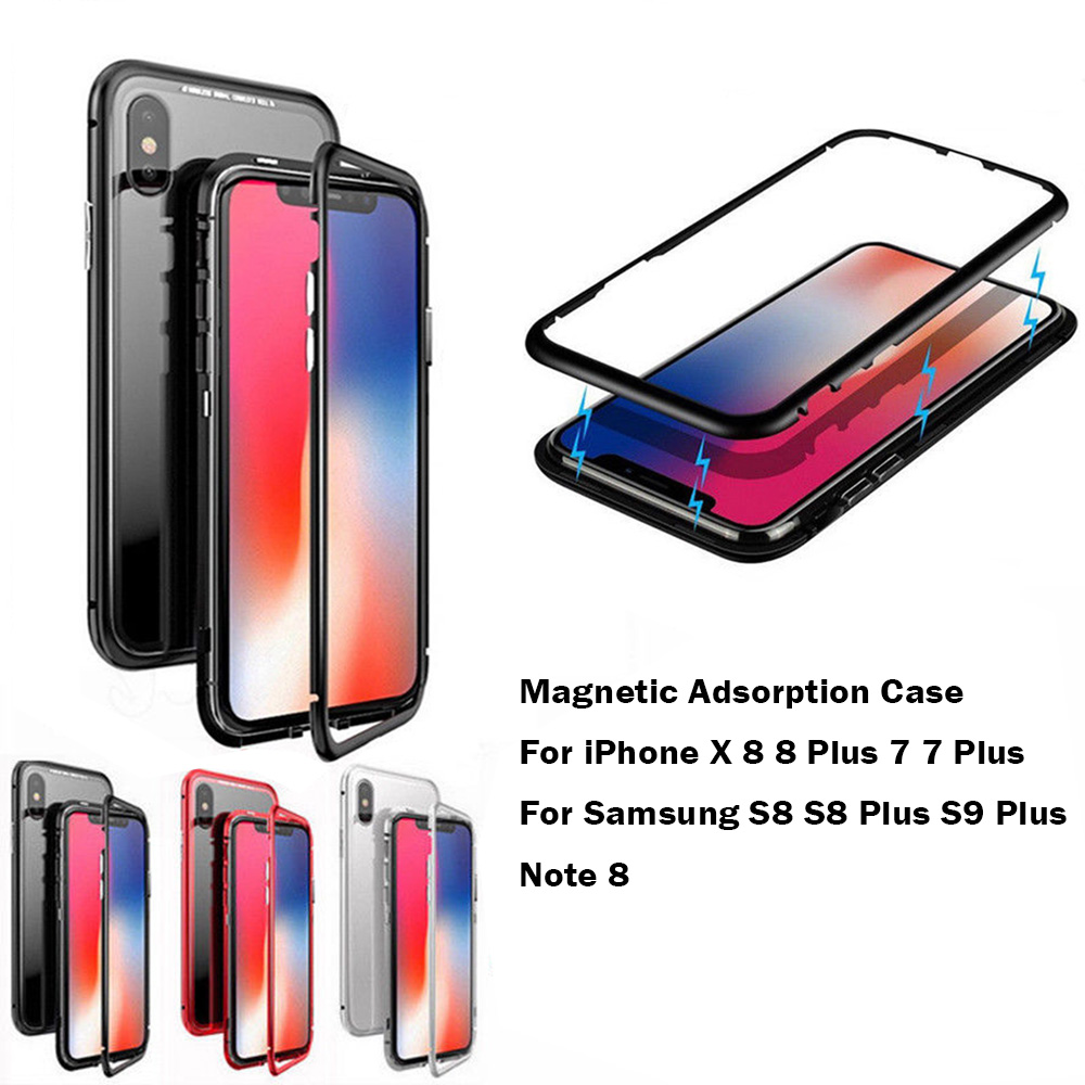 new style 6bf87 ae701 High Quality Magnetic Case For Samsung Galaxy S8 Plus Note 8 S9 Plus Free  Tempered Glass Cover