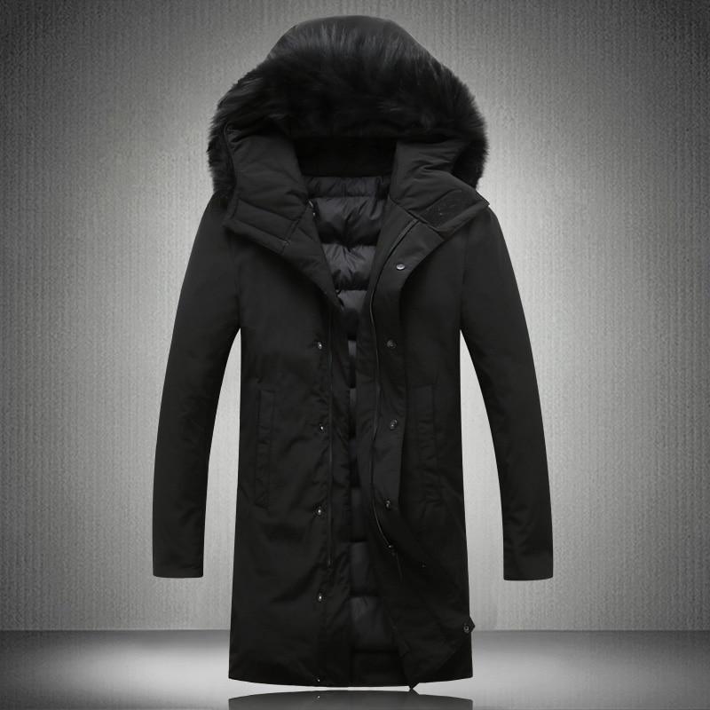 100% QualitäT 2018 Winter Männer Wirklich Haar Kragen Unten Jacke Mens Hohe Qualität 90% Weiße Ente Unten Jacken Männer, Männer Klassische Geschäft Mäntel