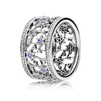 2016 Spring Collection Round Forget Me Not Purple Ring with Clear CZ 100% 925 Sterling Silver Jewelry DIY Wholesale