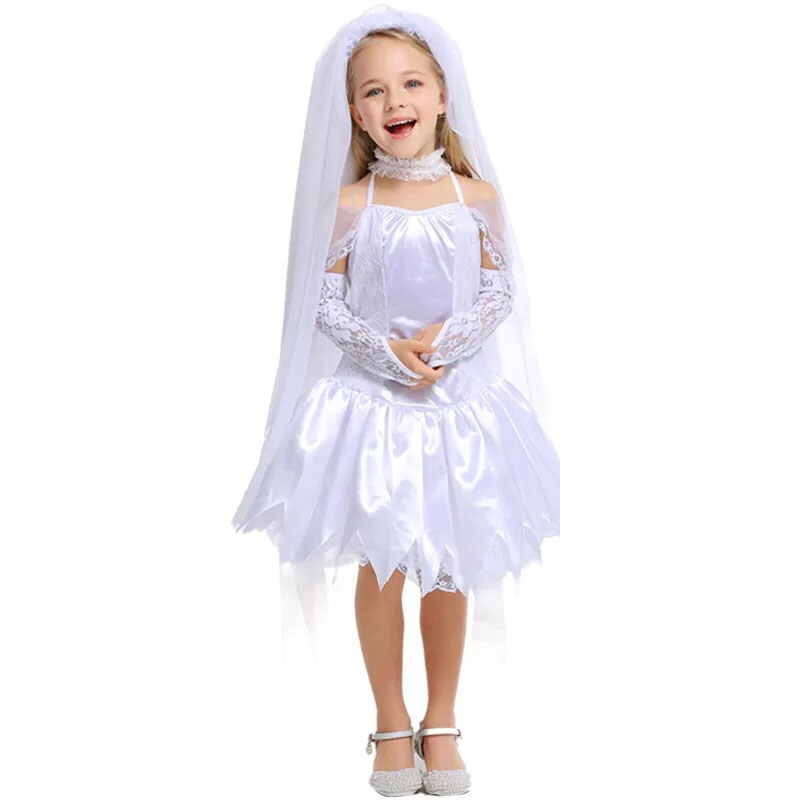 Toddler Girls Halloween Corpse Bride Zombie Costume White Wedding