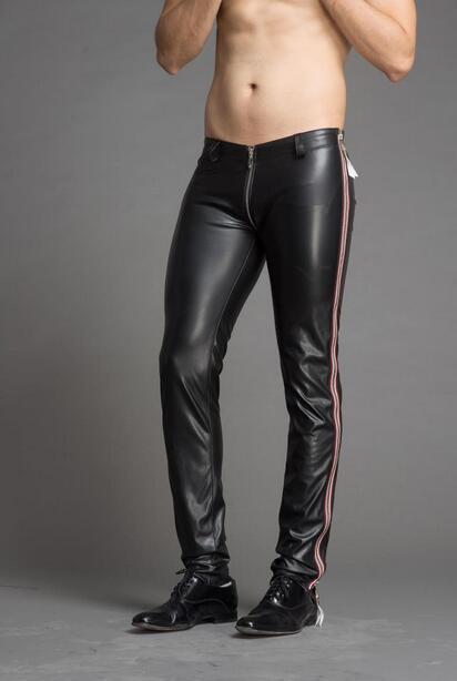 Exclusive New Men Leggings Zipper Elastic Leather Pants