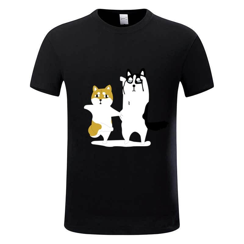 Herr Rolig SHIBA INU Svart T-shirt Sommar Doge Rolig Bomull Tee Homme - Herrkläder - Foto 2