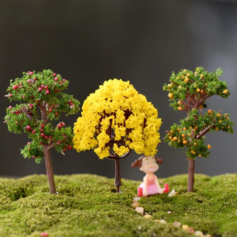 Миниатюрные миниатюры с имитацией мини-дерева, пейзаж, полимерные поделки, фигурка фальшивого цветочного бонсая, садовый Террариум, аксесс...