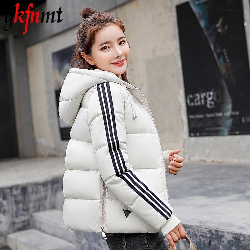 Gkfnmt Coat Winter Jacket Women 2018 New Ladies Fashion Outerwear Short Wadded Jacket Female Padded   Parka   Women's Overcoat White