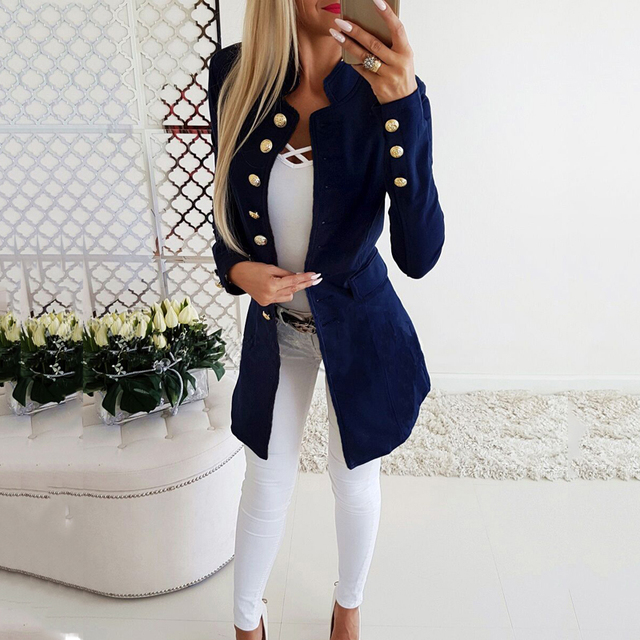 Lossky Women Jacket Blazers Slim Lady Office Wear Outwear Long Sleeve Stand Collar Formal Suit Long Black Red Autumn Spring Coat 1