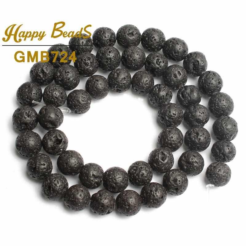 """Naturalny czarny kamień z lawy wulkanicznej koraliki okrągłe luźne koraliki modułowe do tworzenia biżuterii DIY akcesoria do bransoletki 15 """"4/6/8/ 10/12/14mm"""