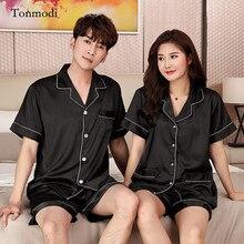 Couples Matching Pajamas For Women Summer Lovers Mens Pajamas Silk Satin Sleepwear  Women s lounge Pajama Sets bc3178b19