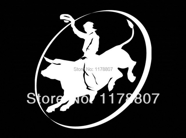 Bull bull rider cowboy sticker vinyl decal for truck suv trailer windowor laptop