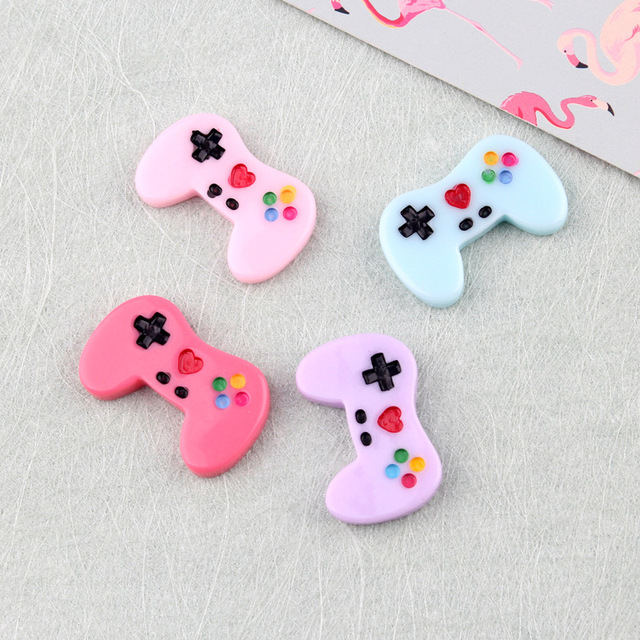8pcs Slime Beads Charms Game Controller Flat Back Cabochons Craft For Cellphone Case Decoration DIY Accessories Embellishments