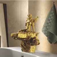 Бесплатная Доставка одно отверстие золото Clour раковина кран художественного бассейна кран роскошный кран Современный Смеситель