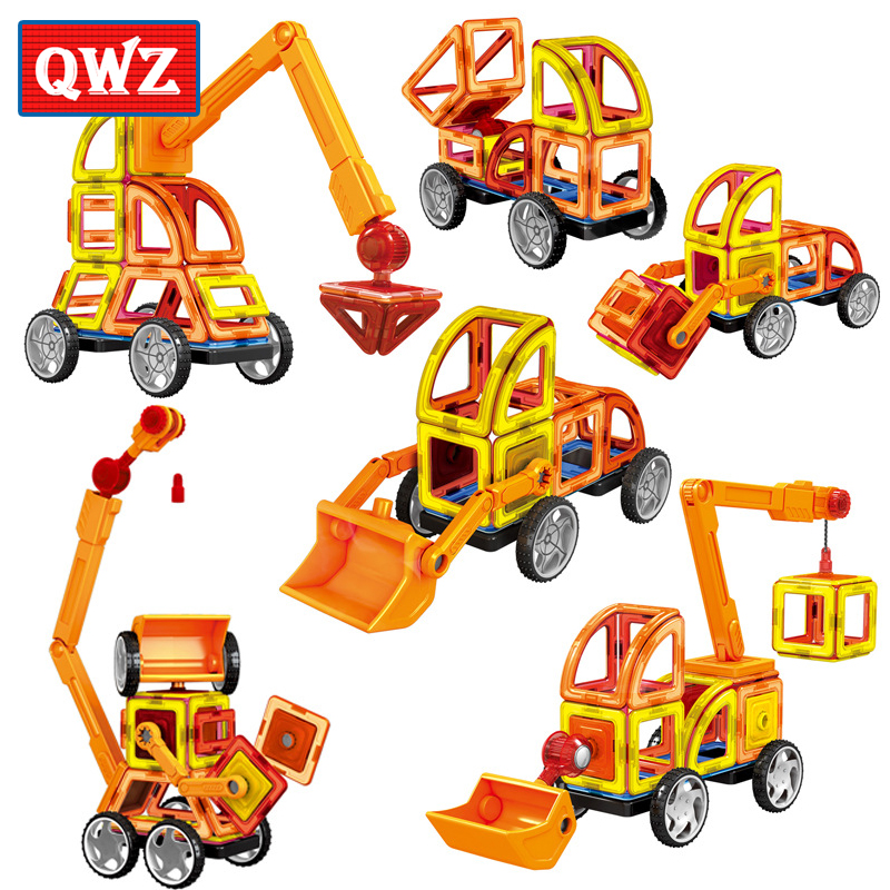 QWZ 60Pcs Magnetic Designer Big Size Building Blocks 3D DIY Creative Vehicles Bricks Models Educational Magnetic Toys Kids Gifts
