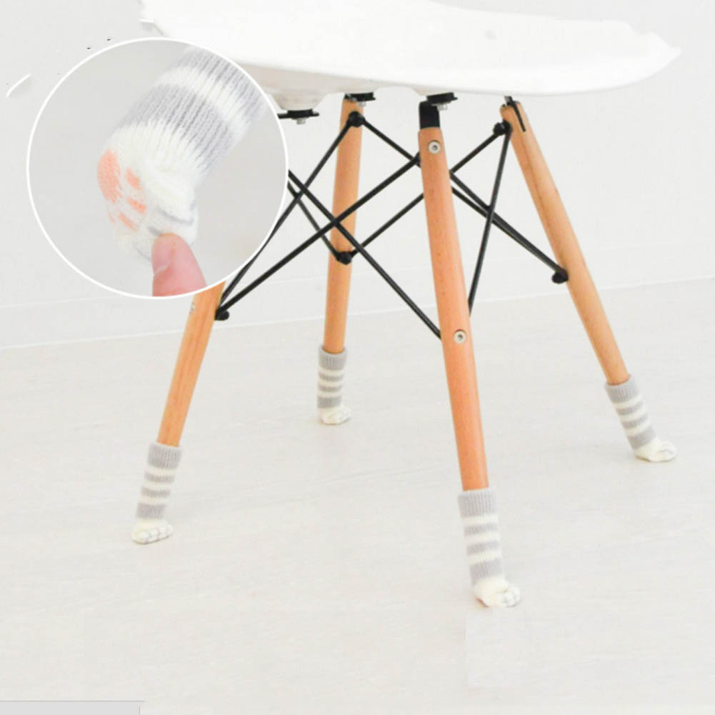 4Pcs/set Knit Home Flower Floor Protector Leg Practical Sleeve Table Chair Foot Cover Socks