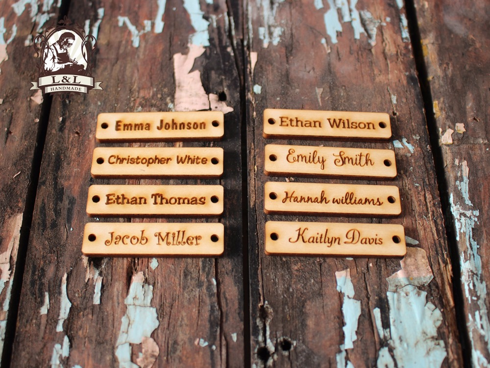 US $14 25 |Wooden Tags, Personalized Tags, Custom Tags, Wooden Engraved  Tags, Laser Cut Logo, Name label (WDBQ04)-in DIY Craft Supplies from Home &
