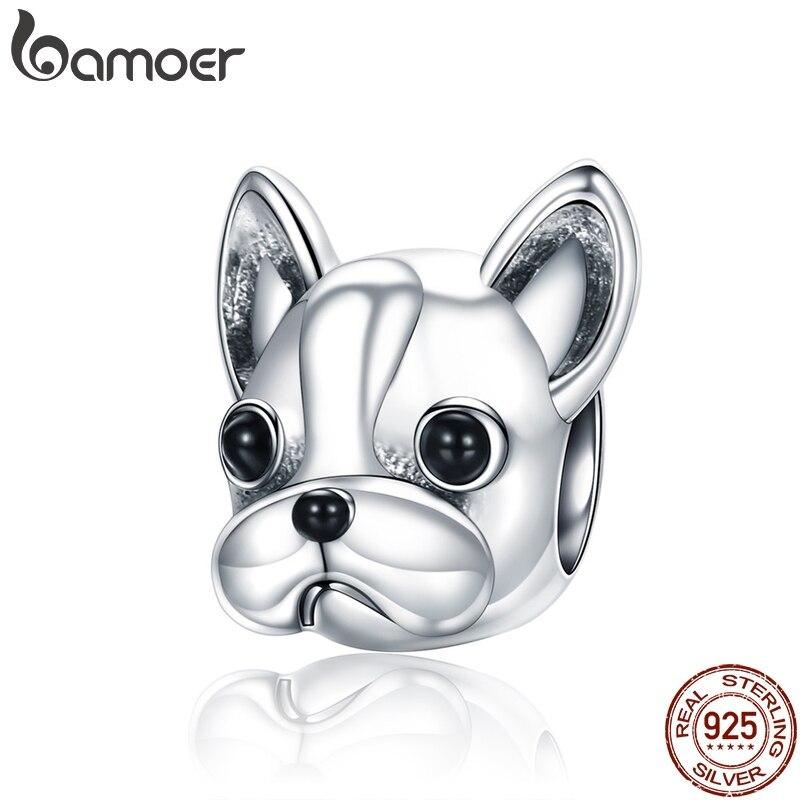 BAMOER de Plata de Ley 925 socios leales francés BULLDOG perro cuentas las mujeres pulseras del encanto perro de la joyería de DIY SCC315