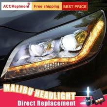 2 قطعة LED المصابيح الأمامية ل chevore ماليبو 11 14 led أضواء السيارة عيون الملاك زينون طقم مصباح تفريغ عالي الشدة الضوئية الضباب أضواء LED النهار تشغيل أضواء