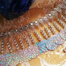 Franges perlées en dentelle, 7 modèles, possibilité de sélectionner des paillettes, accessoires pour vêtements de danse, franges perlées, blanc