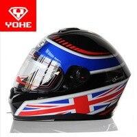 2017 New style YOHE full face Motorcycle helmet Motor running motorbike helmets Warm scarf of ABS and PC visor lens Model YH966