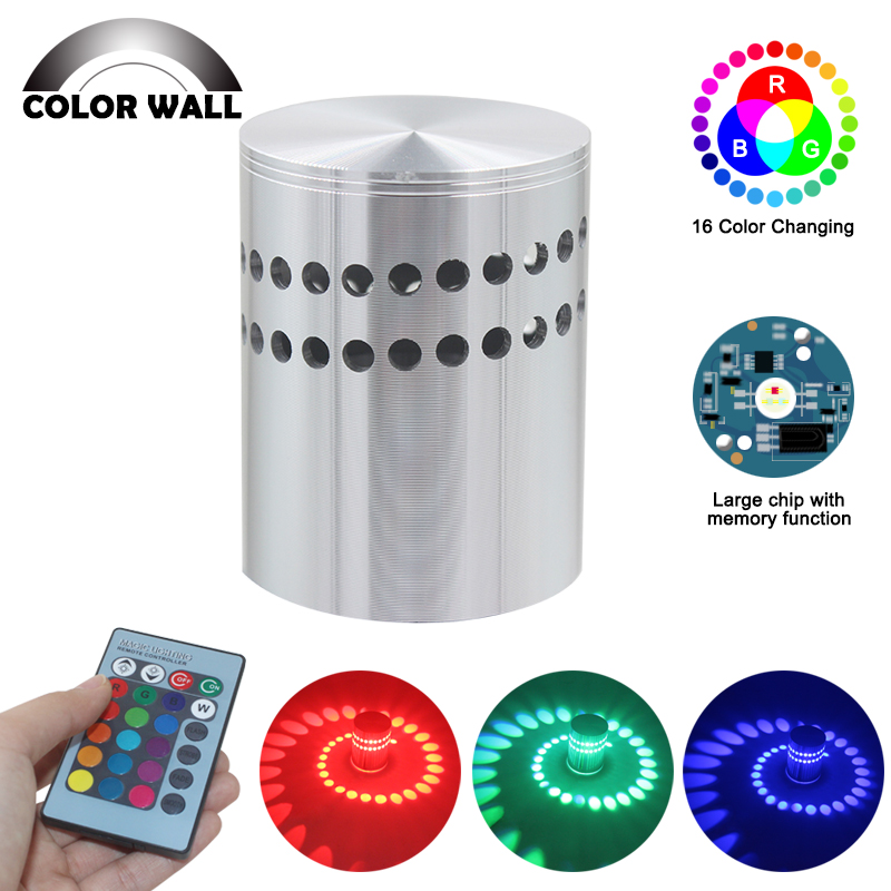 RGB 3W LED Ceiling Light Modern Aluminum Wall Mounted Wall Sconce Bar Exhibition Art Deco Lights Home Bedside Lighting