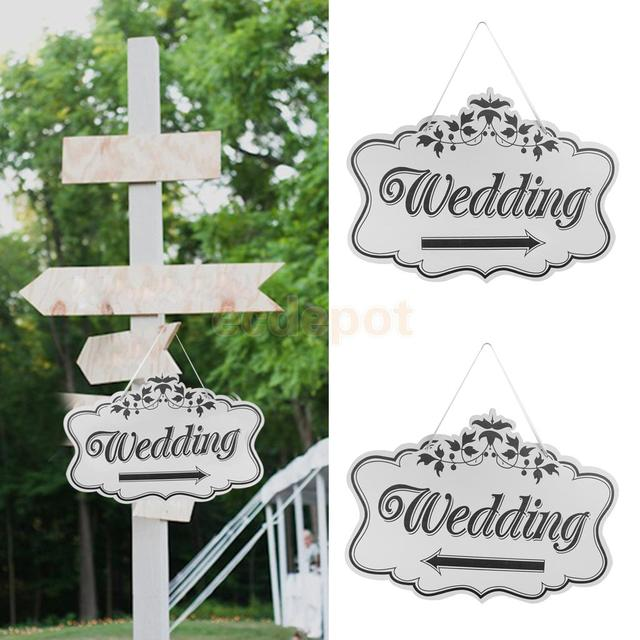 Wooden Printed Arrow Wedding Direction Sign with Ribbon Outdoor ...