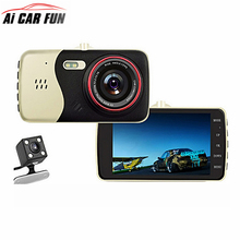 Full HD 1080P 4.0 inches Dash Cam Car DVR Camera Dual Lens Video Recorder Parking Monitor Rear view Auto Camera Motion Detection