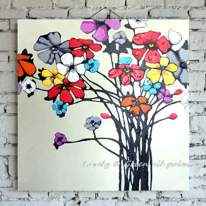 Free Shipping 100% Hand Painted Wall Art Blooming Beautiful  Flower Oil Painting Canvas Decorative Picture Living Room 50X50CM