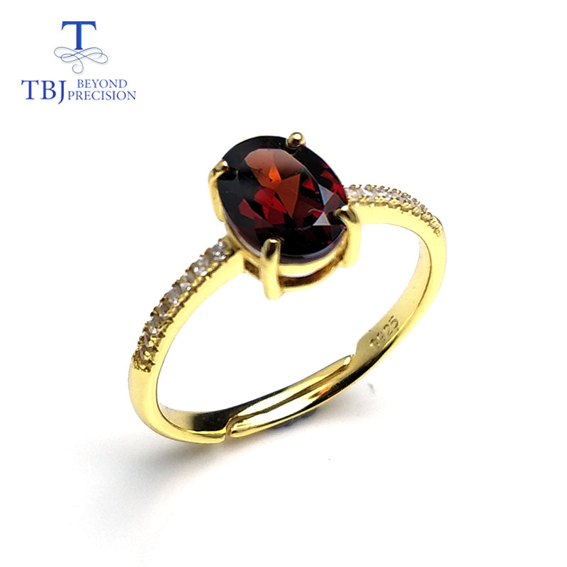 TBJ,100% natural real garnet gemstone ring in 925 sterling silver yellow gold color,simple & elegant design for girls as a giftTBJ,100% natural real garnet gemstone ring in 925 sterling silver yellow gold color,simple & elegant design for girls as a gift