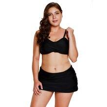 2d6e89599adf0 Bandeau Bikini 2pcs Skirtini with Skirted Bottom Swimsuit Beach Swimwear  Plus Size(China)