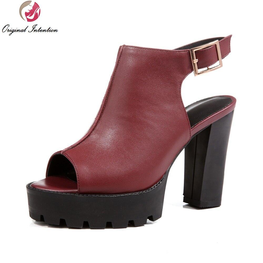 Black nice sandals - Original Intention Women Sandals 2017 Popular Open Toe Square Heels Sandals Nice Black Wine Red Shoes Woman Us Size 3 5 9 5