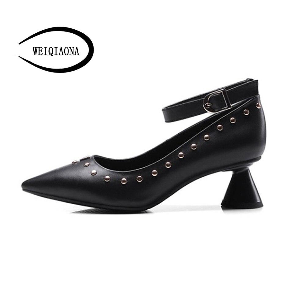 De Weiqiaona Cuero Sexy Zapatos Remache Moda Mediados Correa Femenino Individual Elegante Del Tobillo Señaló Negro Genuino desnuda Bombas Vestido Tacones Partido YqfOYrw