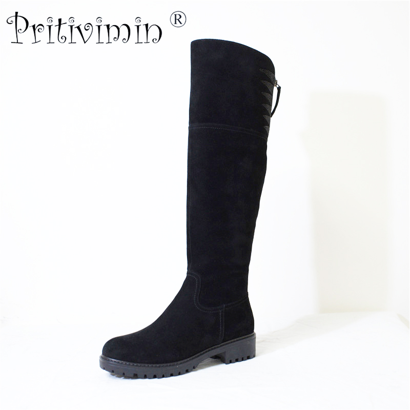 Pritivimin FN73 Ladies kide suede botte femme winter women handmade warm real wool fur lined shoe girl over the knee high boots pritivimin fn81 winter warm women real wool fur lined shoes ladies genuine leather high boot girl fashion over the knee boots