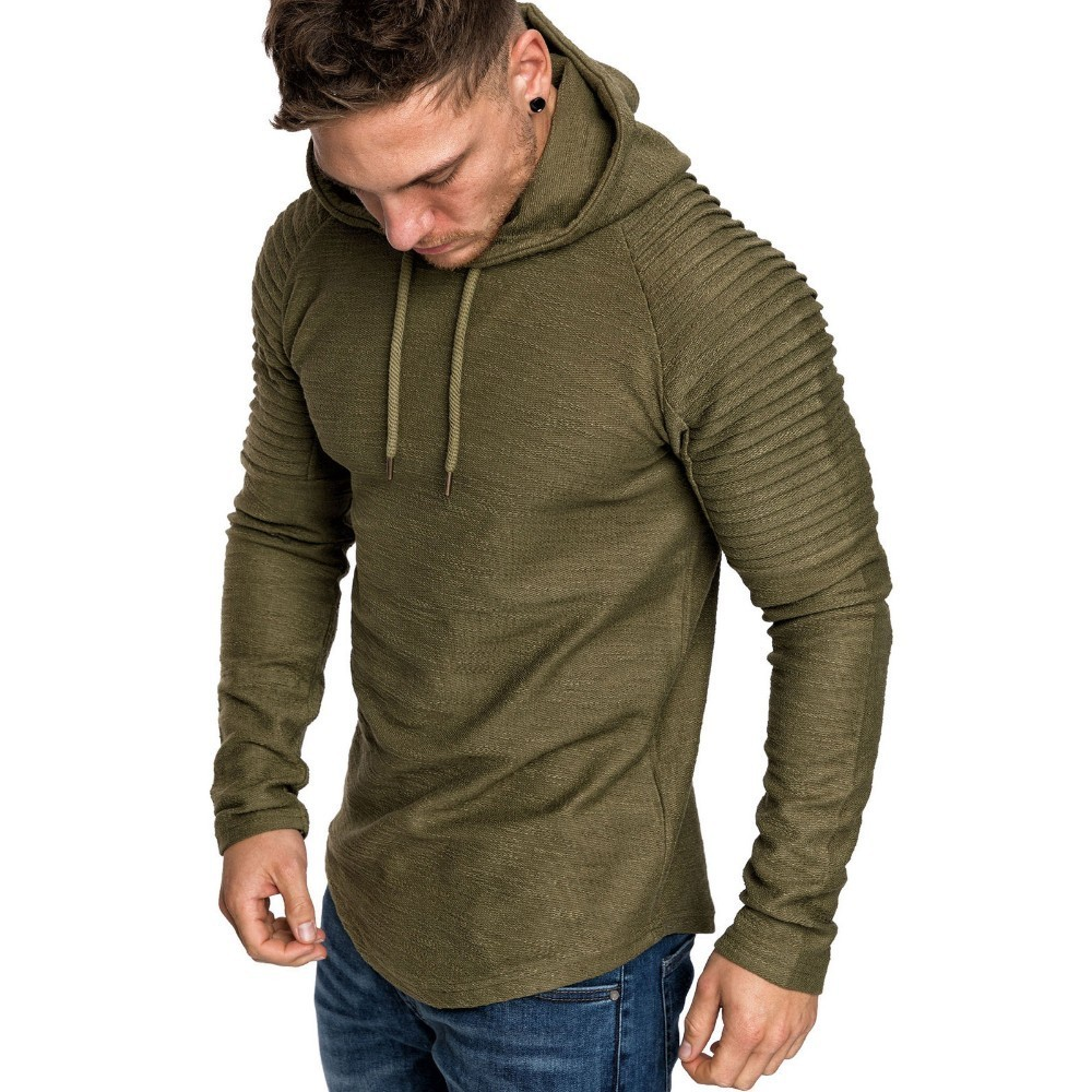 Moomphya Ragan sleeve hooded men t shirt Pleated sleeve t-shirt men Longline curved hem Hip hop slim tshirt streetwear tops 5