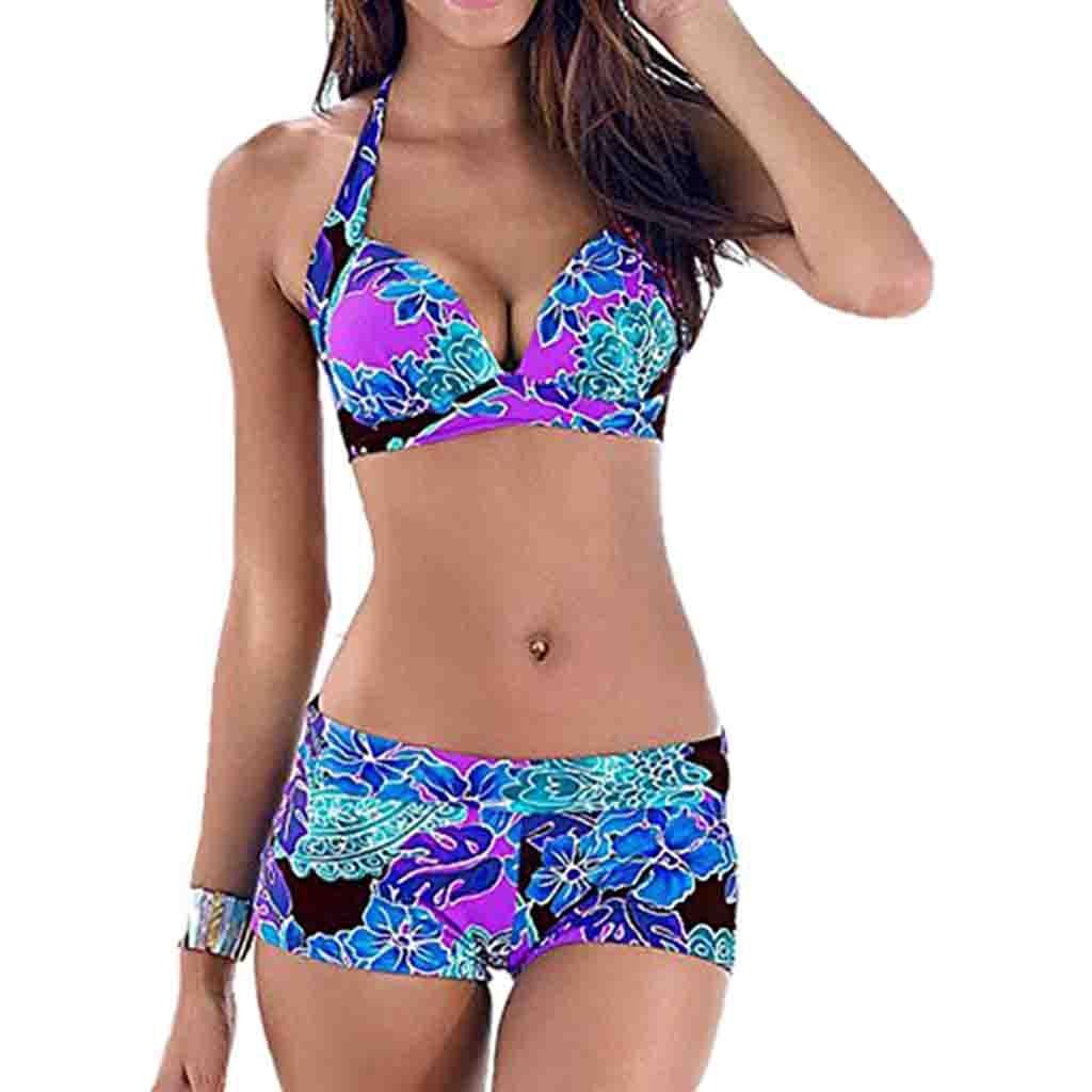 UK Womens Blouson Sporty Tankini Gradient Swimming Costume Beach Bikini Swimsuit