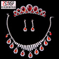 Corona de tres piezas de joyería nupcial de la boda vestido de lujo atmósfera salvaje corona aretes collar de la gota al por mayor