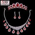 Crown três-pedaço de jóias de noiva vestido de casamento luxuoso atmosfera selvagem queda de colar brincos coroa atacado