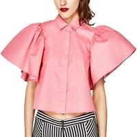 Ruffles Open Back Shirt Cure Sweet Pink Shirt Blouse Bandage Women Loose Blouses Vintage Blusas Female