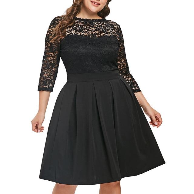 Casual Dress Woman 5XL Big Size Dress 2019 Autumn Dresses Women Plus Size Solid Color Lace Party Evening Prom Vestido 1